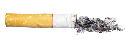 Cigarette isolated on a white background. Close up of Cigarette. Cigarette butt with ash. Tobacco isolated.
