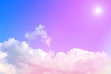 Blue sky with white clouds. rain clouds and sunshine on sunny summer or spring day. Color effect. Stock Photo