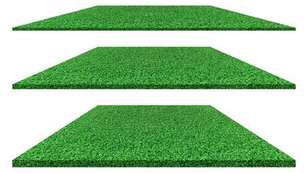 Grass field isolated on white background for golf course, soccer field or sports concept design. Artificial green grass