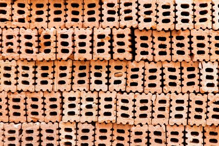 Brick texture background for interior exterior decoration and industrial construction design. Imagens