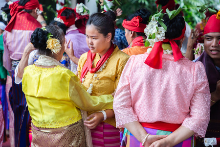 Chiang Mai, THAILAND - June 20, 2019 : Spirit dance (Fon Phee) the soul of Lanna people in the north of Thailand. People believe that spirit can brings fertility and peace to everyday life.