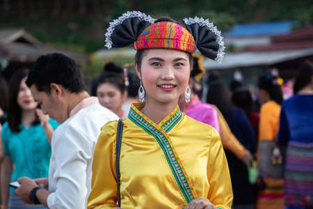 Thoet Thai, Chiang Rai - THAILAND, November 27, 2019 : Beauty woman of Shan or Tai Yai (ethnic group living in parts of Myanmar and Thailand) in tribal dress on Shan New Year celebrations.