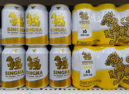 Singha beer the original thai beer in supermarket at Chiang Mai - THAILAND, February 12, 2021 Editöryel