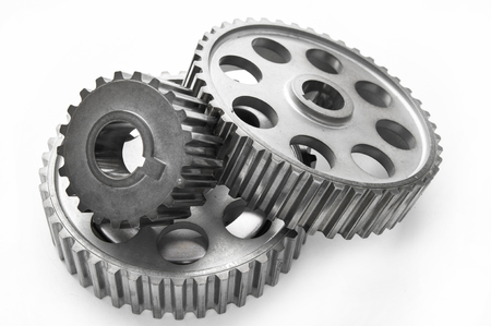 Real used stainless steel car gears isolated over white background Stock Photo - 27713625