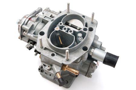carburettor: New car carburetor on a white background Stock Photo