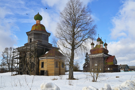 Church of the Nativity of the Virgin, 1860, Church of the Annunciation, 1692. Kargopol. Russia
