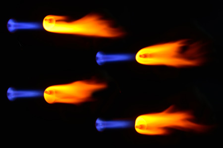 heating the glass ball flame of a gas burner