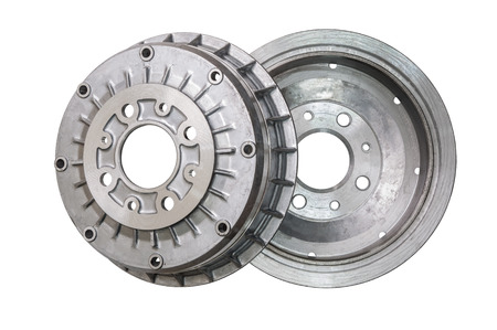 a set of new brake drums isolated on white background Stock Photo