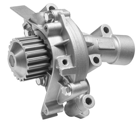 new motor car: water pump of the cooling system of the car on a white background Stock Photo