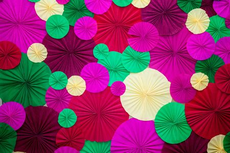 crinkles: Circles of different sizes overlapping of crumpled paper Stock Photo