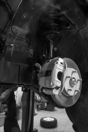 brake caliper: Brake caliper and disc assembly of a new vehicle Stock Photo