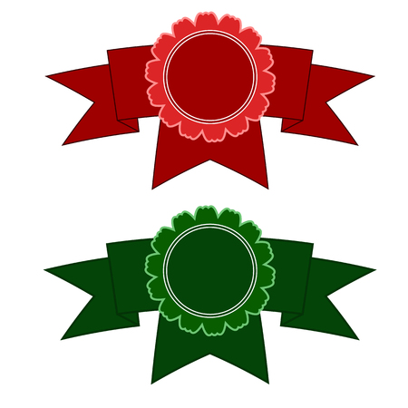 wining: Red and green medals at the curved strips