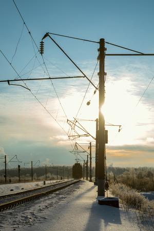 winter evening: Railroad locomotive winter evening and distance