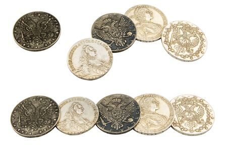 silver coins: Ancient silver coins isolated on white background