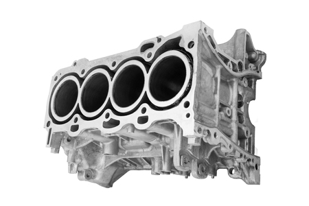 cylinder block: block car engine cylinder on a white background