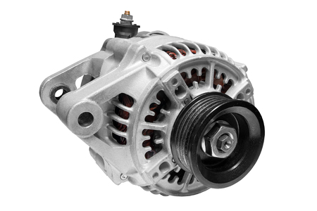 alternator: new electric car alternator on a white background