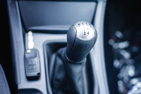 reversing: car shift lever with shallow depth of field Stock Photo