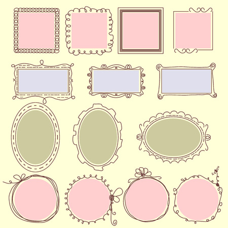 moulding: Hand drawn frames lines and circle collection Illustration