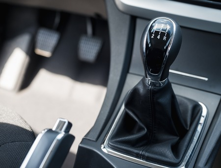 car shift lever with shallow depth of field Stock Photo