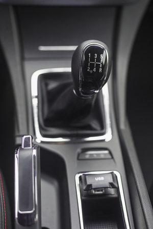 disengage: Gearshift knob with shallow depth of field Stock Photo