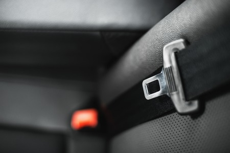 Car safety belt with shallow depth of field