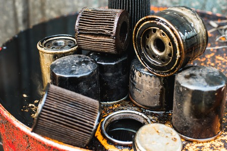 Used oil filters for low depth of field Stok Fotoğraf - 85855546