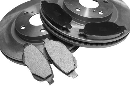 brake pads and car disks at shallow depth of field