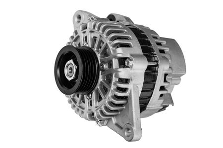 car alternator on a white background Stock Photo