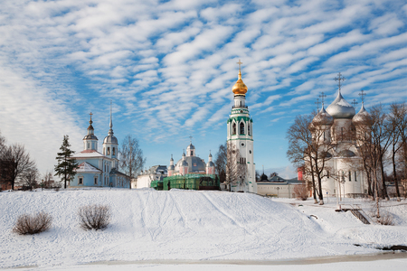 Buildings of the city of Vologda on the river bank