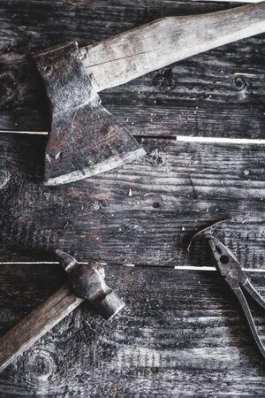 woodworking tools on wooden background Reklamní fotografie