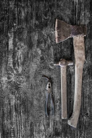 woodworking tools on wooden background Stock Photo