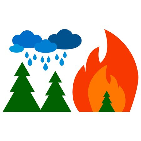 fire in the forest and clouds with rain Illustration