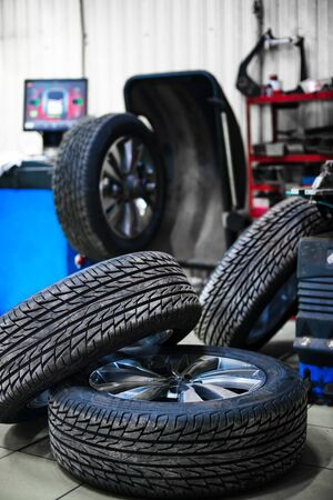 new wheels in the tire with a small depth of field Stock Photo
