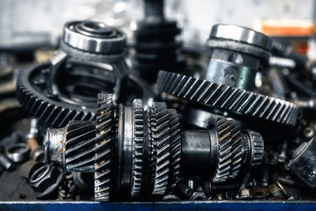 car transmission parts at shallow depth of field Stock Photo
