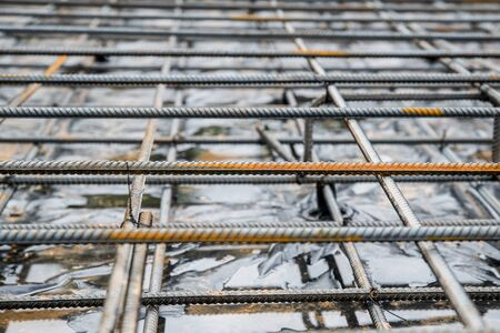 Steel rebar and wire mesh with shallow depth of field