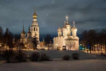 embankment of the Vologda River, in the evening, the city of Vologda, Russia, winter