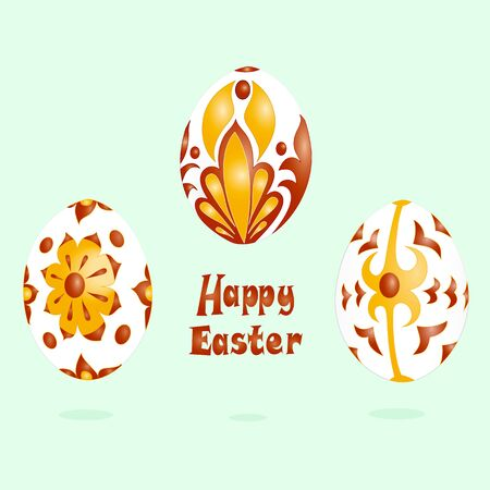 Vector image of multi-colored painted Easter eggs Ilustração