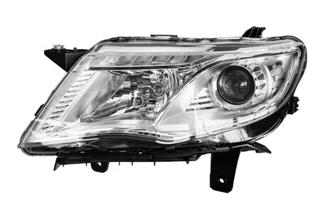 car headlight on white background