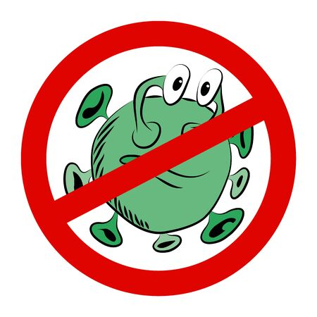 Vector drawing prohibition sign and green microbe
