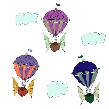 vector drawing of colorful balloons flying in the clouds on a white background