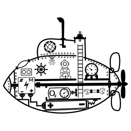 Vector cartoon drawing of a submarine inside with elements and a diver on a white background for your creativity