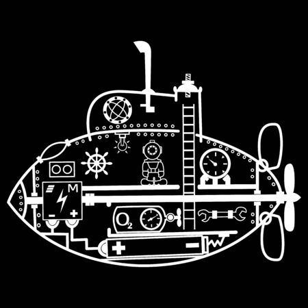 Vector cartoon drawing of a submarine inside with elements and a diver on a black background for your creativity