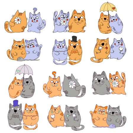 vector drawn cats are doing different things on a white background Illustration