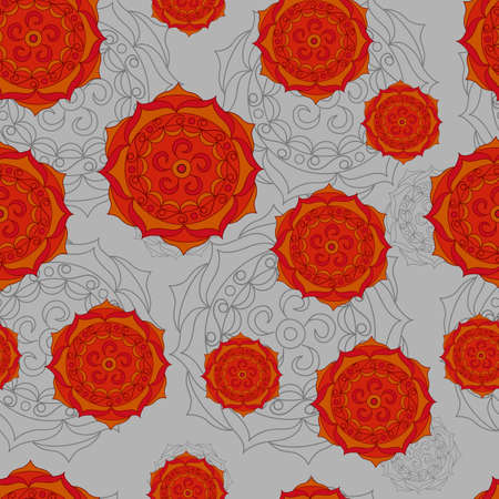 Vector seamless doodle pattern on gray background.