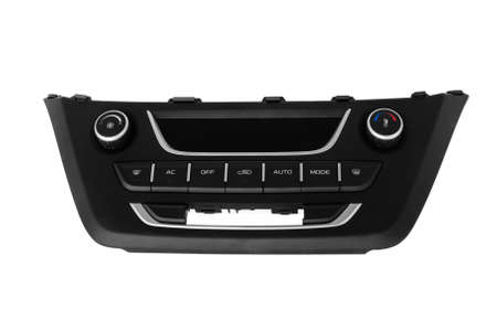 new plastic car climate control control panel on a white background