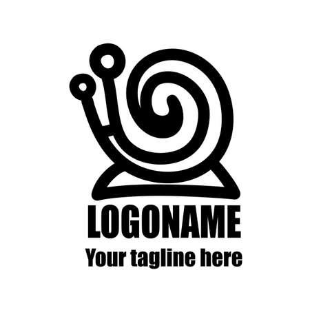 vector sketch snail logo for your creativity on a white background Ilustração