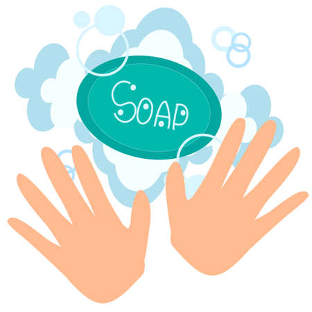 vector drawing of two hands and soap with foam on a white background