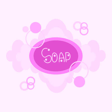 vector drawing oval soap with foam on a white background