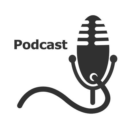 icon for a podcast image containing a microphone with a stand and a power cord from it on a white background Ilustração