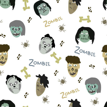 attern of images of zombies and various elements on a white background Ilustração